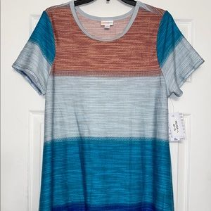 Lularoe L large stripe Melissa tunic top shirt